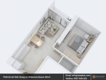 Thiết kế, thi công nội thất căn hộ, chung cư Vinhomes Bason diện tích 50m2 Quận 1 TPHCM
