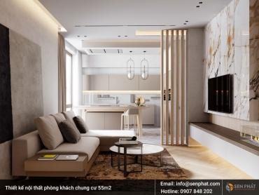 Thiết kế nội thất chung cư 55m2 theo phong cách hiện đại