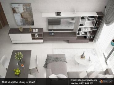 Thiết kế nội thất nhà, căn hộ chung cư 45m2 ấn tượng, đẹp mắt