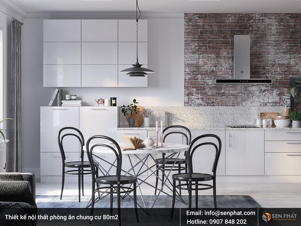 Thiết kế nội thất phòng ăn chung cư 80m2