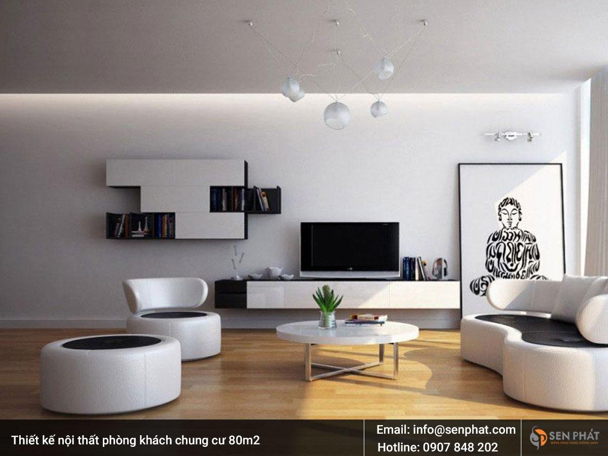 Thiết kế nội thất phòng khách chung cư 80m2