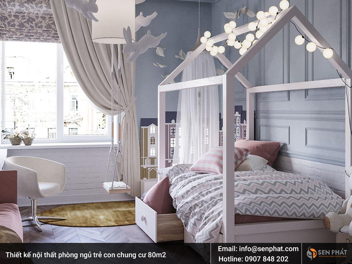 Thiết kế nội thất phòng ngủ trẻ con chung cư 80m2